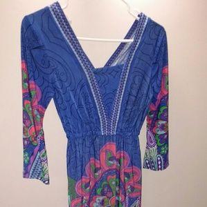 Blue slinky stretchy dress small